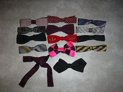 Vintage 1950's Lot Of 14 Clip On Skinny Bow Ties Wembley, Ormond & Others L@@k