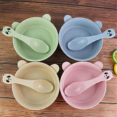 Kids Baby Wheat Tableware Set Cartoon Panda Bowl Spoon Microwave Oven Available!