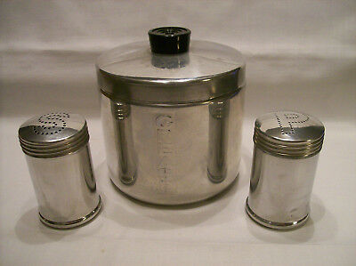 Pure Aluminum grease can and salt and pepper shakers
