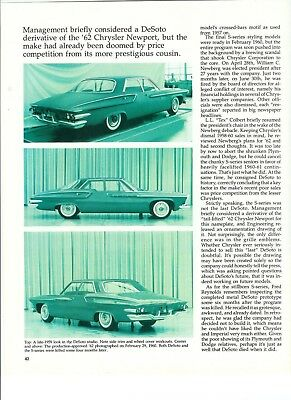 1962 DESOTO 'What could have Been'  5 page Article