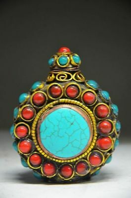 Delicate Chinese Turquoise And Red Coral Handwork Snuff Bottle