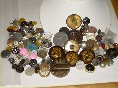 Vintage Button Lot, 100 + Buttons-Plastic,Metal, Some Shank, Some Matching