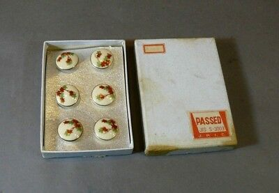 Vintage Set of 6 Boxed Japanese Hand Painted Satsuma Buttons