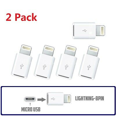 2Pcs Micro USB to Lightning 8 Pin Charger Converter Adapter F iPhone X 7 8 Plus