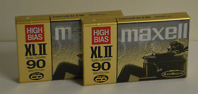 Maxell Cassette XLII90 90 Minute High Bias CrO2 Lot of 2 C90 New Made in Japan