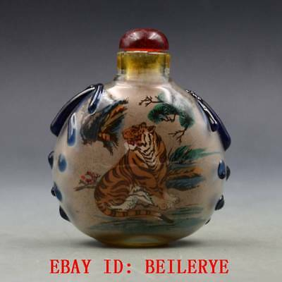 Antique Chinese Glass Internal Hand-painted Tiger Snuff Bottles BY3