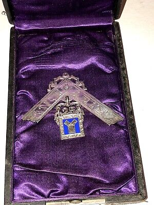 ANTIQUE MASONIC STERLING SILVER NAMED MEDAL SQUARE w/CASE BRISTOL, PA 1894
