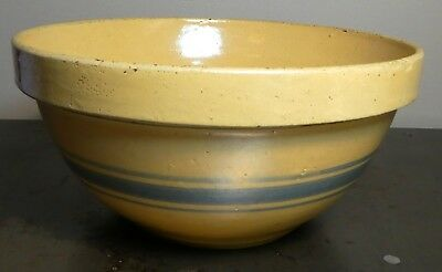 """Antique Orig Large Pottery Stoneware Mixing Bowl 9"""" Wide Blue Stripe Band Yellow"""