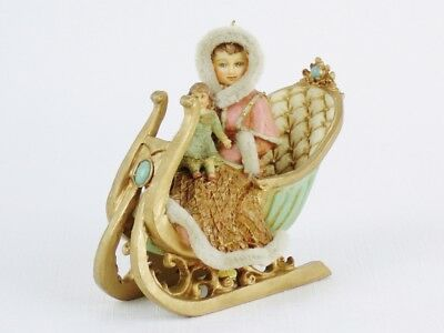 LOUIS NICHOLE Victorian Style GIRL & DOLL IN SLED Christmas Ornament