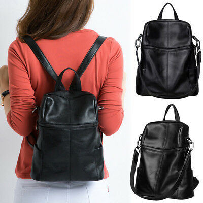 Convertible Real Leather Backpack Rucksack Travel Bag Purse Shoulder Bag 2 szs
