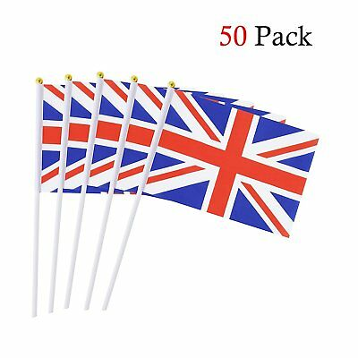 50 British Union Jack Stick Flag Hand Held Small National Flags