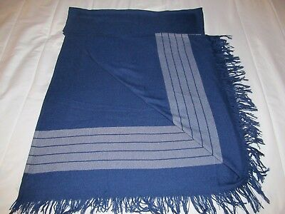 vintage CANADIAN AIRLINES cabin blanket navy striped grey travel throw fringe
