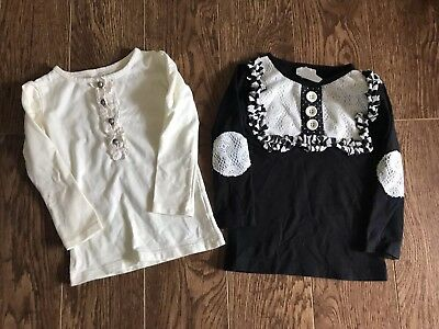 Persnickety 18 Months Set Of Two Girls Boutique Shirts Ivory & Black