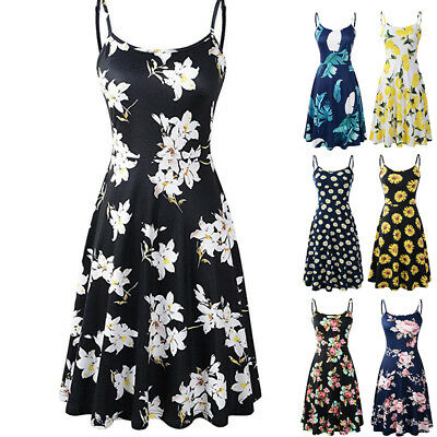 Womens Swing Dress Holiday Strappy Flower Girls Summer Beach Midi Boho Dress