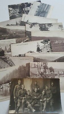WW1 Handwritten 14 Postcards Describing France War Towns w/Author Soldiers Photo