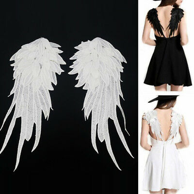 Women 1Pair Angel Wing Lace Embroidery Patch Dress Shirts Applique DIY Trims