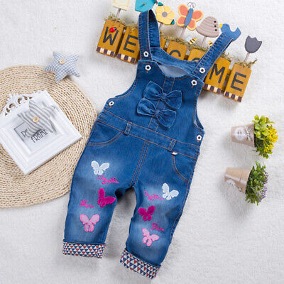 Autumn Child Girls Jeans Overalls Kids Baby Girl Denim Pants Rompers Dungarees