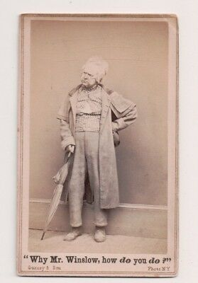 Vintage CDV John E. Owens Comedian as Solon Shingle  Gurney Photo