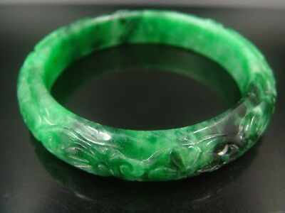 Chinese Antique Old Celadon Nephrite Grade A-Jade Bangle Phoenix  Bracelets