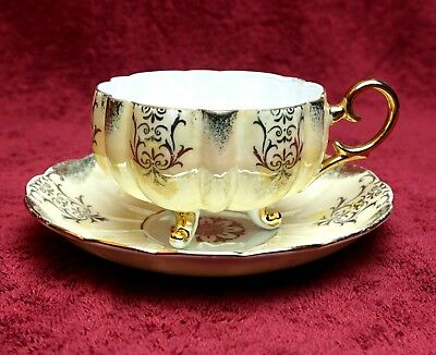Vintage Royal Halsey tea cup Footed Yellow & Gold Lusterware Very Fine teacup