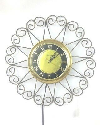 """Vintage 1950's UNITED Clock Corp. Electric Wall Clock Model 87 14"""" Mid Century"""