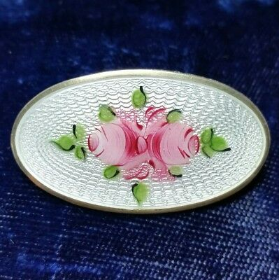 Vintage Antique Art Deco Sterling Guilloche Enamel Oval Brooch Signed Patent No.