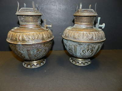 2 Matching Antique B & H Bradley & Hubbard Brass Hanging Or Table Oil Lamp Fonts