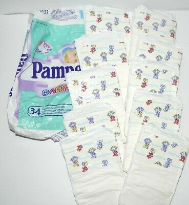 Vintage Pampers Size 2 Plastic - 10 Diapers - 1998