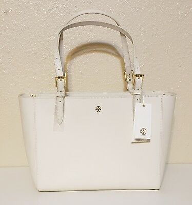 366b1ef3da3d6 Tory Burch Emerson Buckle Tote Small Saffiano Leather Bag New Ivory White  NWT