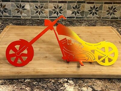 "Chopper Motorcycle Silhouette Metal 14"" Long Standing Art Decor"
