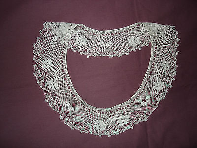 #278 Beautiful Vintage Handmade  Filet Collar 11''(27cm)