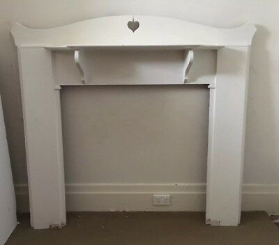 Fire Place Mantle, Painted, White, Hard Wood Timber, Antique