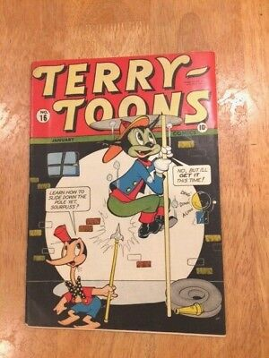 TERRY-TOONS COMICS #16 (Jan 1944 Timely/Marvel) 1st Mention of MIGHTY MOUSE!