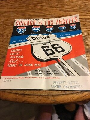 Antique Vintage Road Map Chicago To Los Angeles Route 66