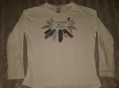 GIRLS Sz 8 white & multicoloured TARGET long sleeve top CUTE! BIRDS OF A FEATHER