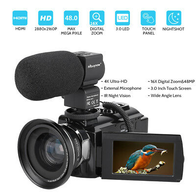 4K HD Digital Camcorder 16X Zoom WiFi 48 MP Video Camera w/Mic & IR Night Vision