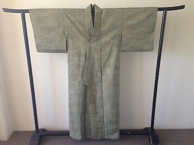 Green Silk Kimono Japanese One of a Kind Vintage Costume Hand Made Old Kyoto