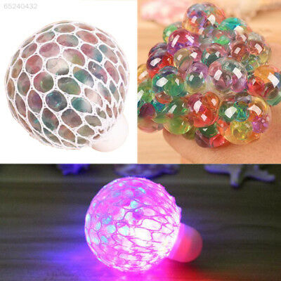 FA24 Squishy Flash Led Colourful Mesh Balls Squeeze Stress Ball Grape Toy Gifts