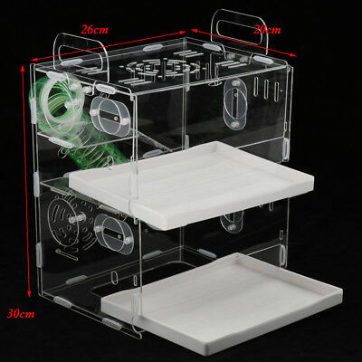 Acrylic Small Pet Hamster Cage House Play Space Habitat Drawer Piping Cage