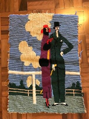Antique art deco 1920s classy man woman fashion racecourse tapestry needlepoint