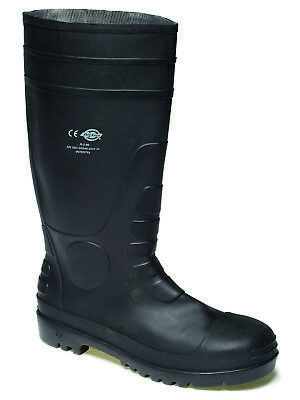 Dickies Super Safety Waterproof Wellington Boots Black (Sizes 6-12) Men's Shoes