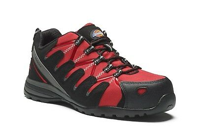Dickies Tiber Super Safety Work Trainer Shoes Red (Sizes 3-12) Men's Boots