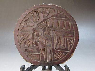 China old Wood Hand carved China girl pavilion Round board adornment Tea saucer