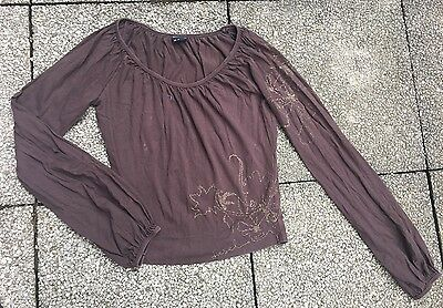 Superbe Blouse/tunique/tee Shirt Diesel Marron Brodé T.xs