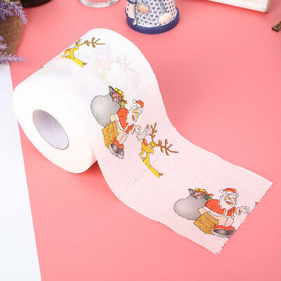 Toilet Paper Christmas Paper Santa Claus pattern Cleaning Holiday Supplies Xmas