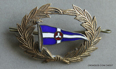 Nautical Hat Badge/pin Original Mounts With Pennant Surrounded By Wreaths