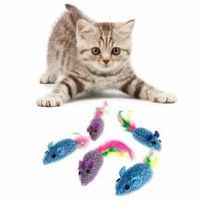 5pcs Cat Toys Colorful Kitten Mouse Feather Stuffed False Playing Interactive