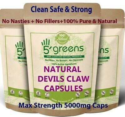 Devils Claw Capsules 5000mg Natural 500mg 10:1 Strong Effective Best Capsules