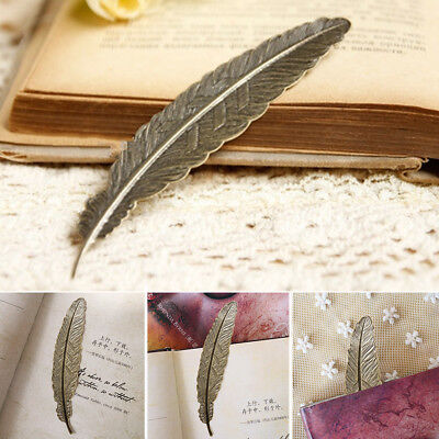 2pcs Bookmark Feather Shape Vintage Metal Bookmarks Office School Stationery