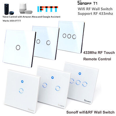 Sonoff T1 1/2 Gang WiFi Smart Switch Home Wall Light Control + RF Touch Remote